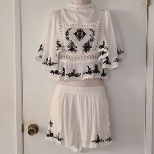 Boho Embroidered Floral Top and Short Set